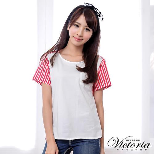 Victoria 口袋直條剪接短袖T-女-紅白條