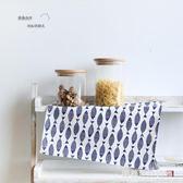 復古文藝深邃藍色小魚印花餐巾餐墊布藝隔熱墊碗墊廚房桌布GD-8