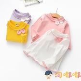 女童長袖打底衫秋裝兒童木耳邊上衣可愛女寶寶兔耳朵T恤【淘嘟嘟】