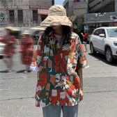 復古港風chic網紅襯衣印花上衣防曬短袖花襯衫女設計感小眾港味夏 韓國時尚週