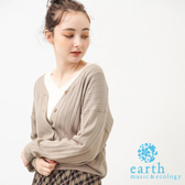 ❖ Winter ❖ 【SET ITEM】壓紋開襟針織罩衫+蕾絲拼接V領上衣 - earth music&ecology