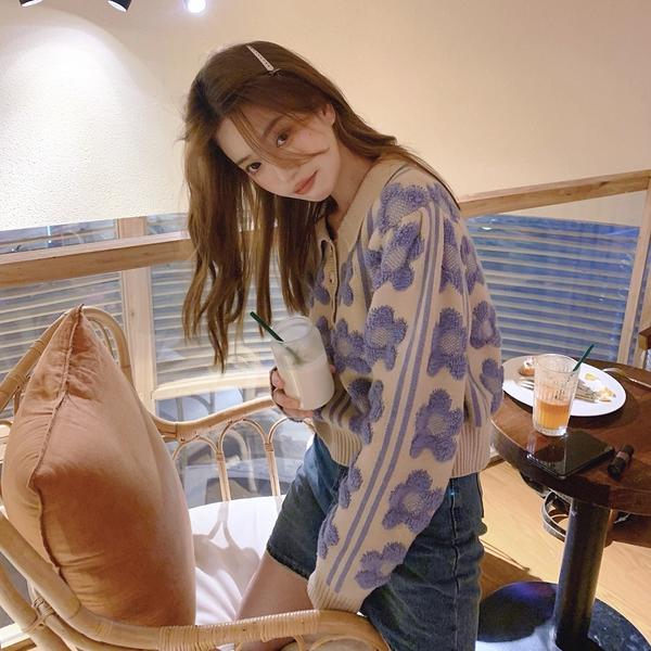 VK旗艦店 韓國溫柔風POLO領慵懶寬鬆毛衣花朵泡泡袖長袖上衣