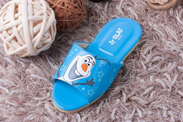 迪士尼冰雪奇緣兒童室內拖鞋(雪寶藍色一雙)