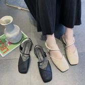 網紅涼鞋女新款方頭中空溫柔單鞋粗跟夏季包頭配裙子的仙女鞋 完美居家