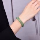正品圓珠造型油青綠冰種東陵玉手鐲手環