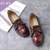 大尺碼女鞋-凱莉密碼-時尚復古擦色流蘇蝴蝶結樂福鞋皮鞋3cm(41-43)【APA-7】酒紅