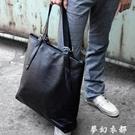 新款 韓版單肩包男士潮流手提包皮豎款包休閒大包時尚男包包夢幻衣都