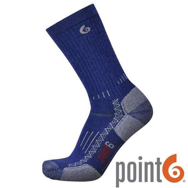 【POINT 6 美國】 Hiking Tech Medium 羊毛 健行排汗中筒襪『海軍藍』22611530 戶外 保暖襪 羊毛襪