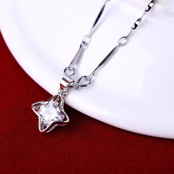 (手工製作不退換)7129#項鏈女日韓925鍍銀吊墜時尚短款鎖骨配飾生日情人節禮物G-B507-B韓依戀
