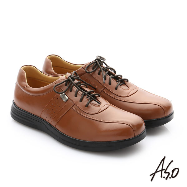 A.S.O 頂級氣墊彈力勁步 油感牛皮奈米綁帶皮鞋 茶