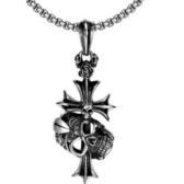 鈦鋼項鍊吊墜-骷髏頭十字架生日情人節禮物男配件73cm116【時尚巴黎】