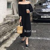 韓國設計 泡泡袖 一字領 露肩抓皺 長裙洋裝 CC KOREA ~ Q16385