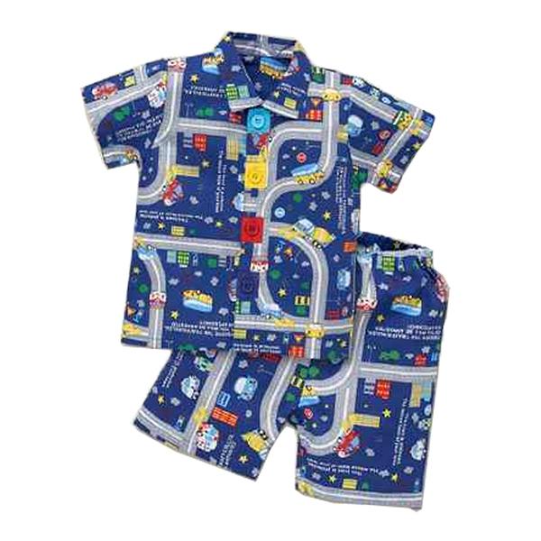 【北投之家】日本嬰兒睡衣套裝二件組 短袖上衣+睡褲 淺藍深藍 | 西松屋童裝 (嬰幼兒/小孩/baby)
