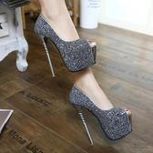 女王的16厘米情趣絲襪超高跟鞋女sm夜店銀色性感細跟魚嘴單鞋