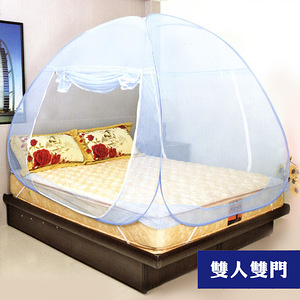 【LASSLEY】彈開式蒙古包蚊帳-雙人床雙門(蚊帳 防蚊 秒開無底)米色
