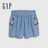 Gap女幼活力刺繡花卉牛仔短褲577284-淺色水洗