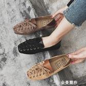 豆豆鞋網紅單鞋女春季新款豆豆奶奶鞋復古平底淺口懶人一腳蹬小清新 金曼麗莎
