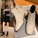 粗跟切爾西短靴女2021新款秋冬百搭網紅瘦瘦英倫風春秋單靴ins潮 夏季新品