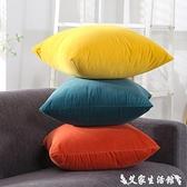 抱枕 北歐天鵝絨抱枕靠墊沙發辦公室椅子腰靠枕床頭靠背墊抱枕套不含芯 艾家