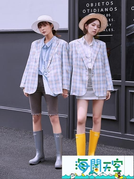 女雨鞋 高筒冬季雨鞋女時尚款外穿防水長筒雨靴加絨保暖水靴防滑【海闊天空】