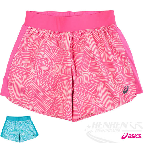 ASICS亞瑟士 女慢跑短褲(花*粉) 吸汗速乾 反光機能設計
