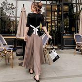 限時38折 韓國復古學院風學生收腰蝴蝶結洋氣裙時尚套裝短袖裙裝