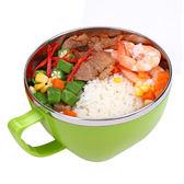 PUSH!餐具防燙防摔加厚304不鏽鋼碗泡麵碗飯碗湯碗帶蓋E63