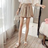 短褲 高腰雪紡闊腿短褲女夏新款運動假兩件寬鬆大碼顯瘦裙褲子 唯伊時尚