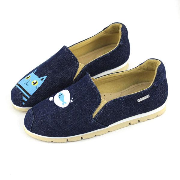 Paidal 貓咪與魚加厚底休閒鞋-深藍