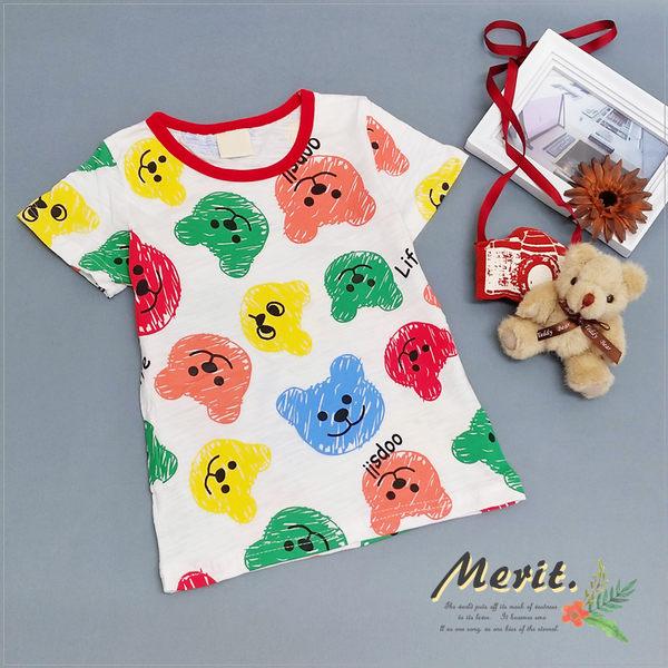 彩色小熊軟糖短袖上衣 可愛 男童 女童 童裝 T恤 短T 夏天 棉質 彩虹【哎北比童裝】
