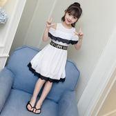 洋裝 女童夏季蕾絲雪紡洋裝2018新款韓版女孩漏肩公主裙中大童3-12歲 芭蕾朵朵