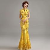 歐尚-天使的嫁衣 黃色晚宴年會舞臺演出走秀主持人魚尾旗袍禮服批發