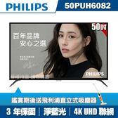 ★送吸塵器★PHILIPS飛利浦 50吋4K UHD聯網液晶顯示器+視訊盒50PUH6082