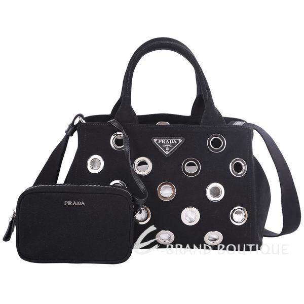 PRADA Canapa 帆布金屬環設計兩用包(黑色) 1610160-01