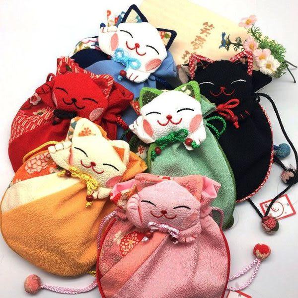 日系 和風招財貓束口袋  招財貓錢袋   想購了超級小物