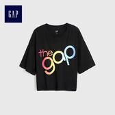 Gap女裝 Logo漸變風格寬鬆上衣 512616-基礎黑