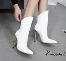 高跟短靴 斜口金色細跟尖頭雪白 中靴 裸靴 踝靴*Kwoomi-A101