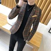 男士休閒西服韓版修身單上衣青年帥氣小西裝青少年學生薄款外套潮 萬聖節