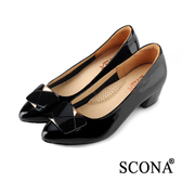 SCONA 全真皮 氣質時尚方釦低跟鞋 黑色 22734-1