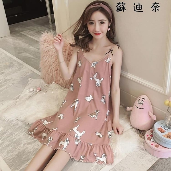 棉質睡衣 睡裙女夏季公主吊帶睡衣純棉家居服