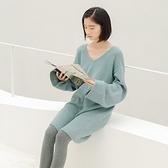 長袖洋裝-V領寬鬆純色針織連身裙2色73xm38【時尚巴黎】