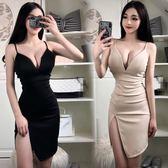 夜店女裝洋裝新款 性感深v領低胸吊帶打底修身顯瘦開叉包臀連衣裙推薦(全館滿1000元減120)