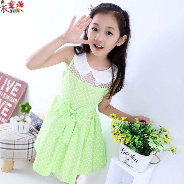 衣童趣 ♥中大女童韓版 甜美無袖蝴蝶結 翻領 普普風洋裝 休閒款度假風洋裝