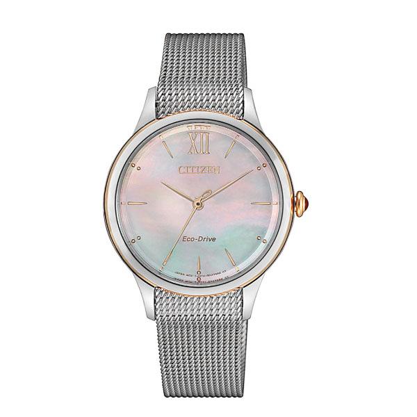 日本CITIZEN  簡約米蘭帶貝殼面腕錶 EM0816-88Y-銀