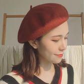 貝雷帽女秋冬復古英倫正韓日系紅色羊毛呢蓓蕾帽甜美百搭畫家帽子