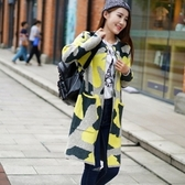 長版針織外套-長袖加厚拼色迷彩中長款女毛衣外套72ak39【巴黎精品】