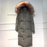 羽絨外套-冬季保暖白鴨絨過膝長款女連帽夾克2色73pl7[巴黎精品]