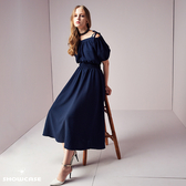 【SHOWCASE】細肩綁帶一字領縮腰麻感長洋裝(藍)