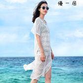 女沙灘鏤空罩衫裙白色蕾絲比基尼泳衣