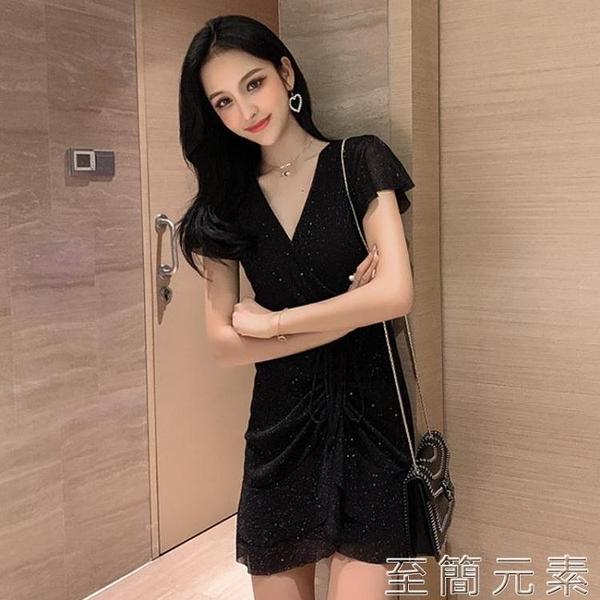 性感氣場洋裝洋氣質高貴短款胖mm設計感桔梗裙子輕熟風大碼女裝 至簡元素